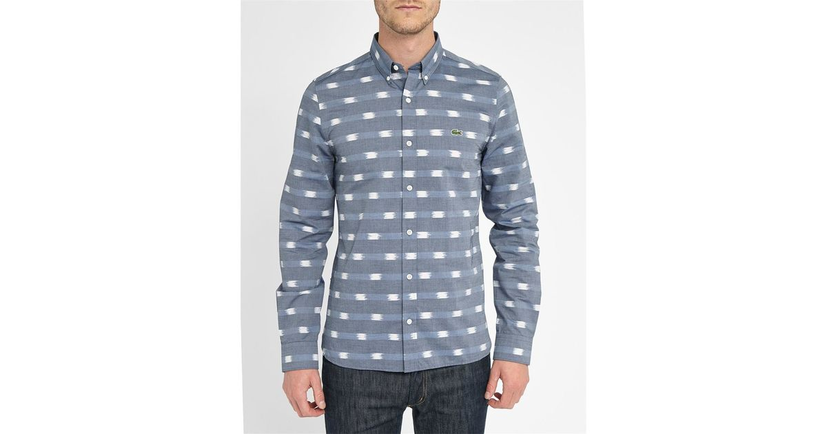 Lacoste l ive blue and white slim fit button down shirt in for Slim fit white button down shirt
