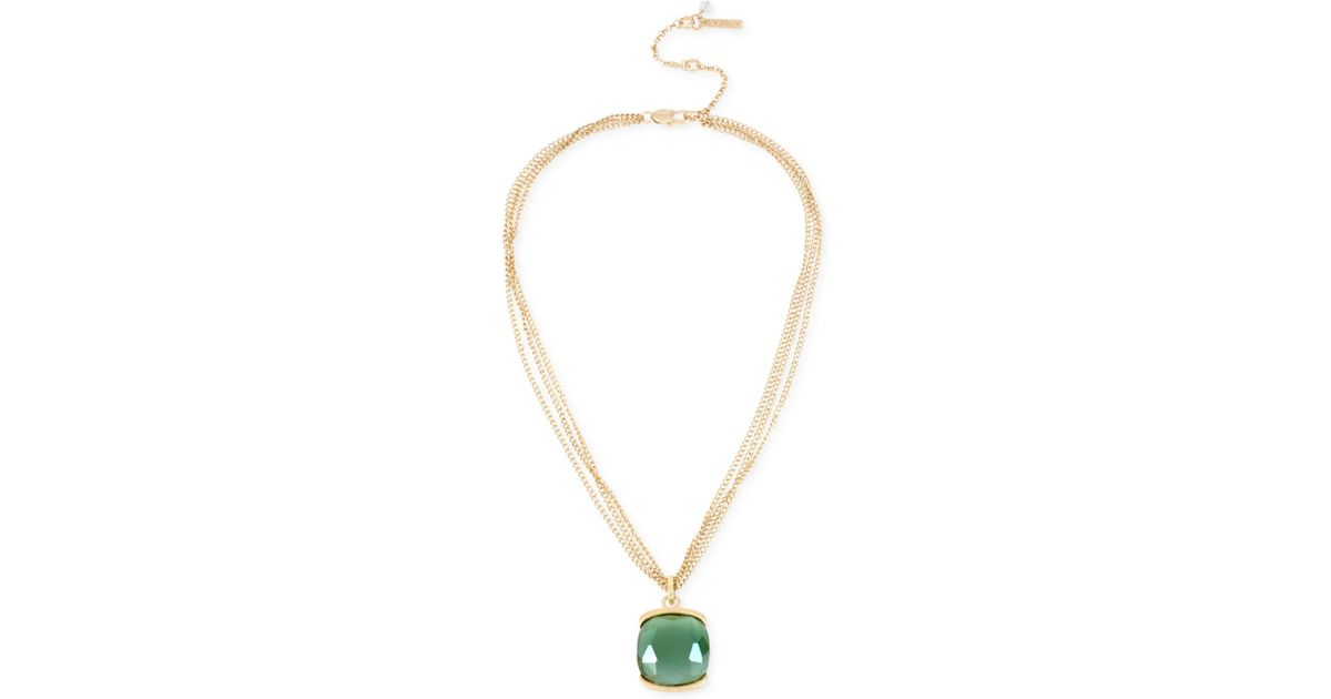 Lyst kenneth cole gold tone multi strand green stone pendant lyst kenneth cole gold tone multi strand green stone pendant necklace in metallic aloadofball Choice Image