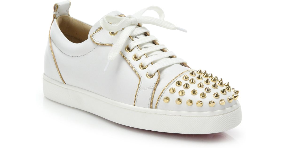 781929314bf9 Lyst - Christian Louboutin Rush Studded Leather Sneakers in White