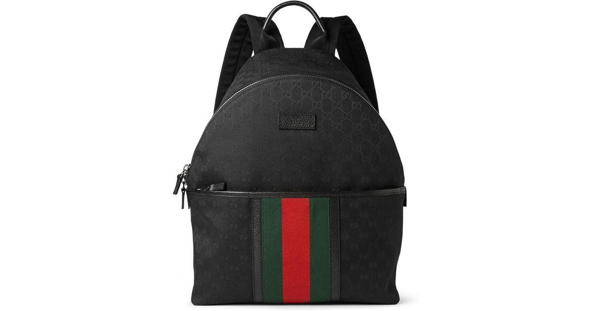 d84315341 Gucci Leather-Trimmed Canvas Backpack in Black for Men - Lyst