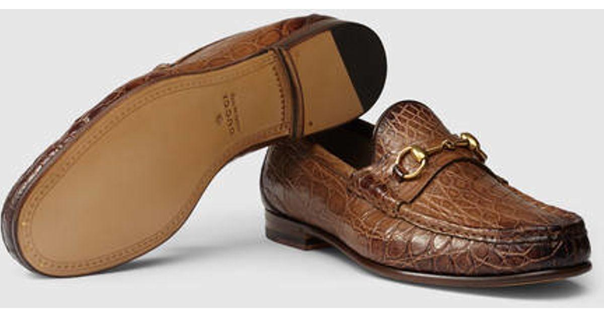 81d1269e6e6 Lyst - Gucci 1953 Horsebit Crocodile Loafer in Brown for Men
