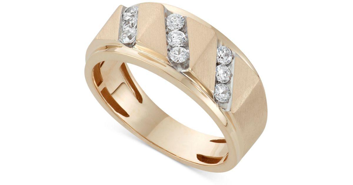 Macy s Men s Diamond Band Ring 1 2 Ct T w In 10k Gold in Metallic