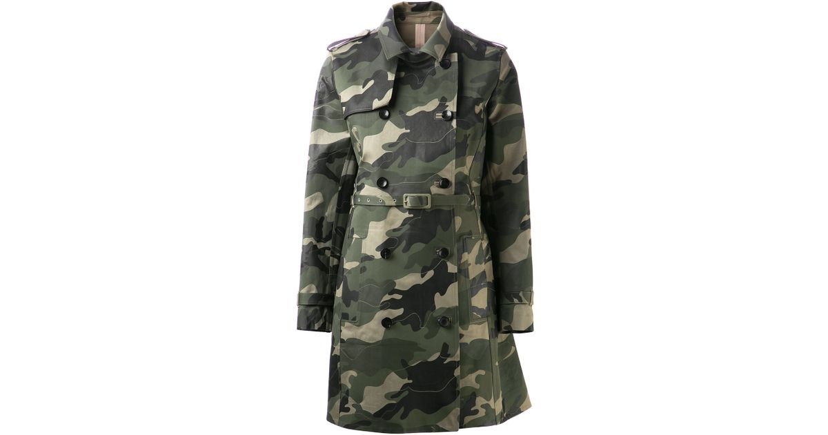 Valentino Camouflage Trench Coat In Green