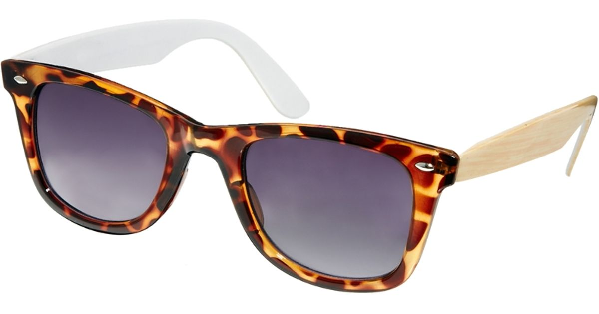 f36605e31ed Lyst - ASOS Wayfarer Sunglasses with Wood Grain Effect Arms in Brown for Men