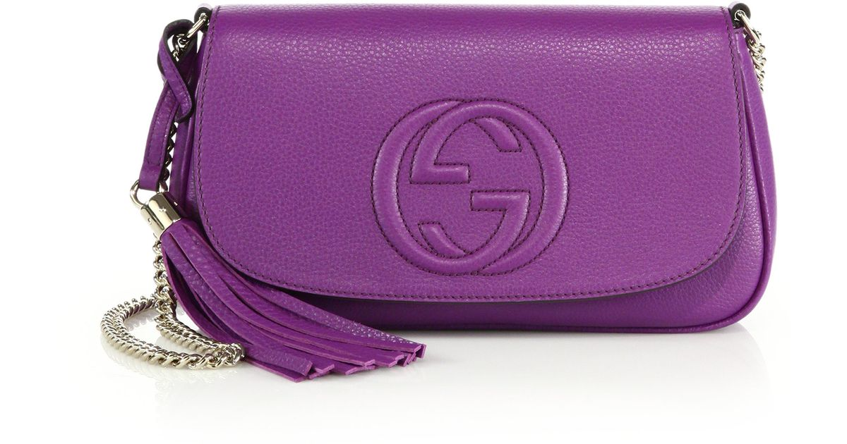 Gucci Soho Leather Shoulder Bag In Purple Lyst