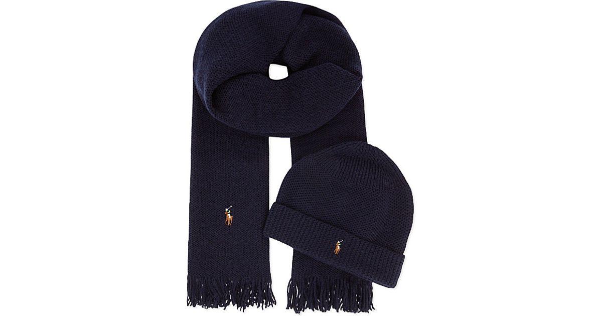 4ee9f05992e Ralph Lauren Merino Wool Scarf And Hat Set in Blue for Men - Lyst