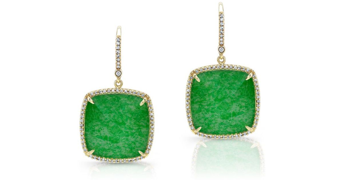 Anne Sisteron 14kt Yellow Gold Jade Cushion Cut Diamond Earrings Lyst