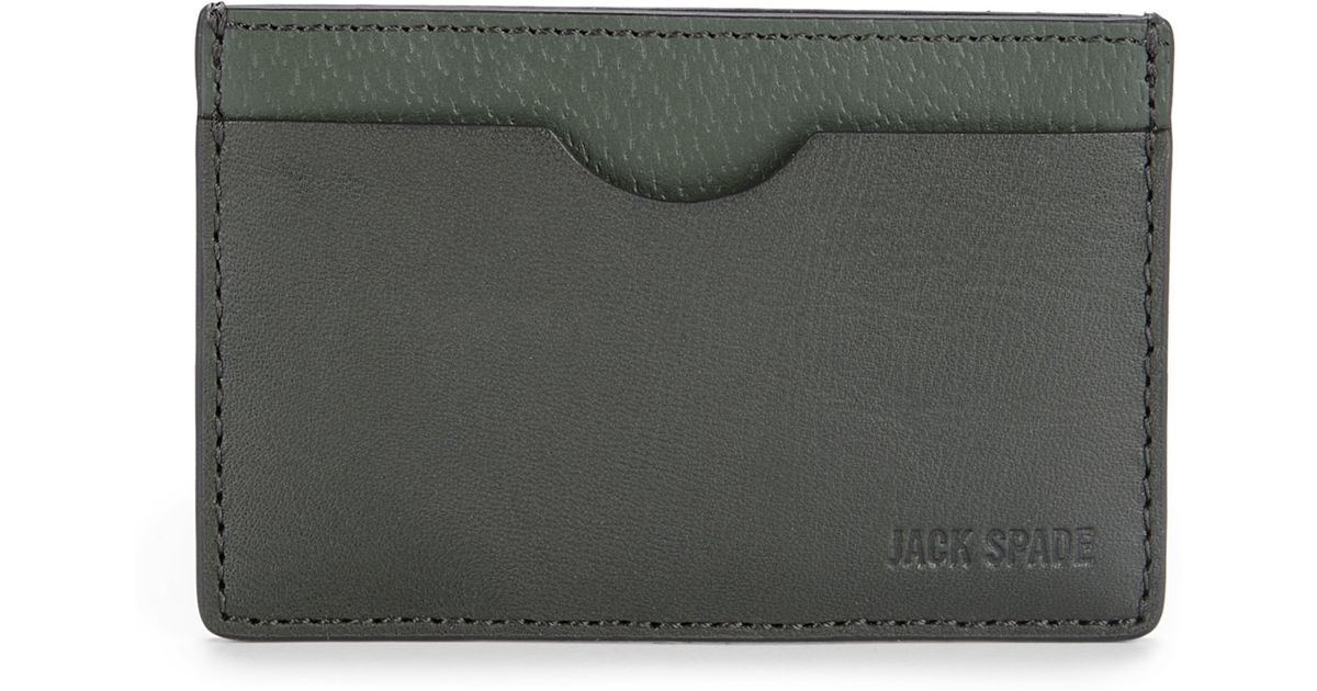 lyst jack spade leather credit card holder in green for men - Leather Credit Card Holder