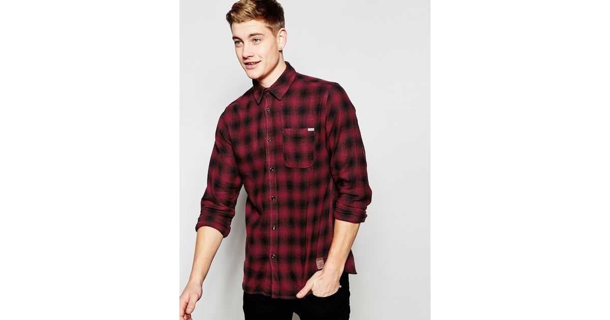 848a49b1aed Jack & Jones Red Check Flannel Shirt In Slim Fit for men