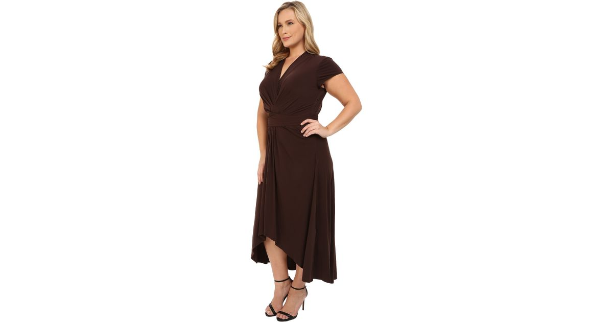 MICHAEL Michael Kors Brown Plus Size Cap Sleeve Maxi Wrap Dress