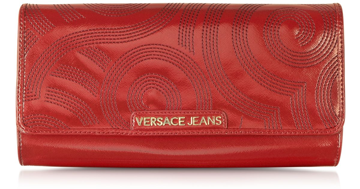 Lyst - Versace Jeans Dark Red Patent Eco-Leather Large Clutch in Red a3f8122c05