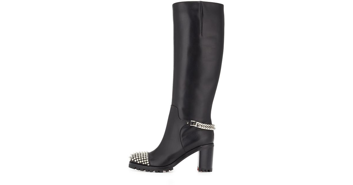 christian louboutin ponyhair over-the-knee boots
