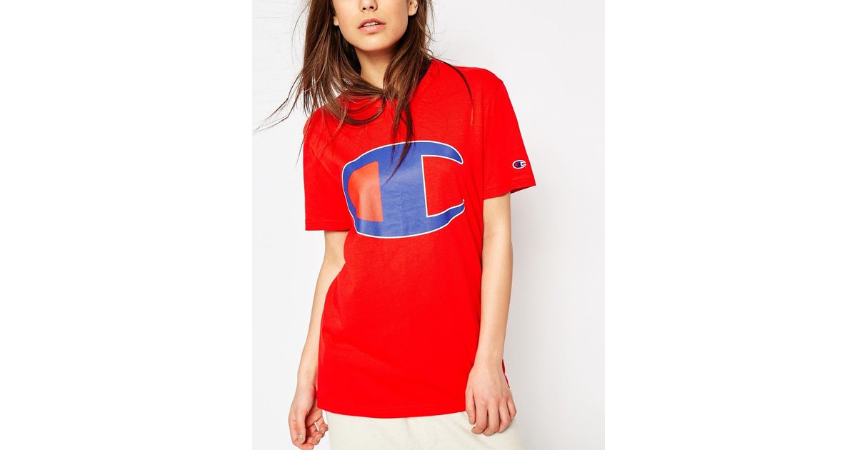 909f707f Lyst - Champion Oversized Boyfriend T-shirt With Retro Oversized Logo in Red