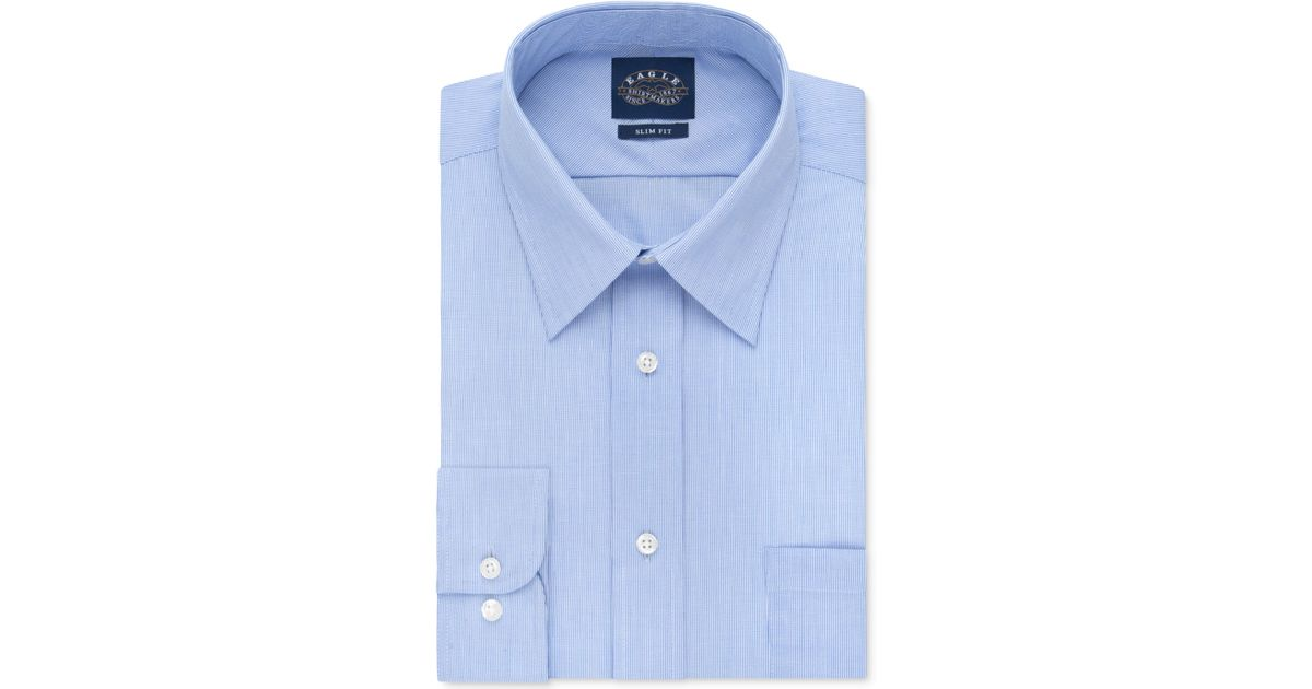 Eagle men 39 s slim fit non iron blue crystal micro stripe for Slim fit non iron dress shirts