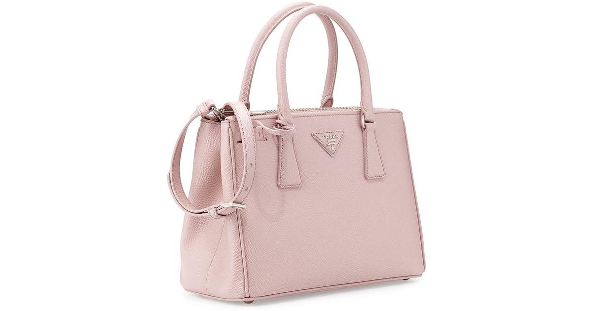 d941e36e36f8 Lyst - Prada Saffiano Lux Double-Zip Tote Bag in Pink