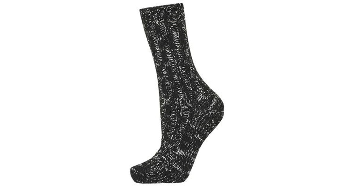 Lyst Topshop Chunky Knit Socks In Black