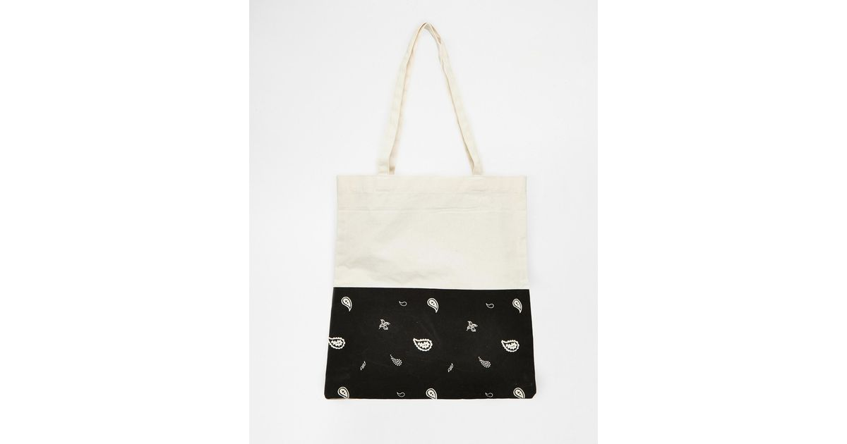 86324e62ad0 ASOS White Canvas Tote Bag With Paisley Print for men