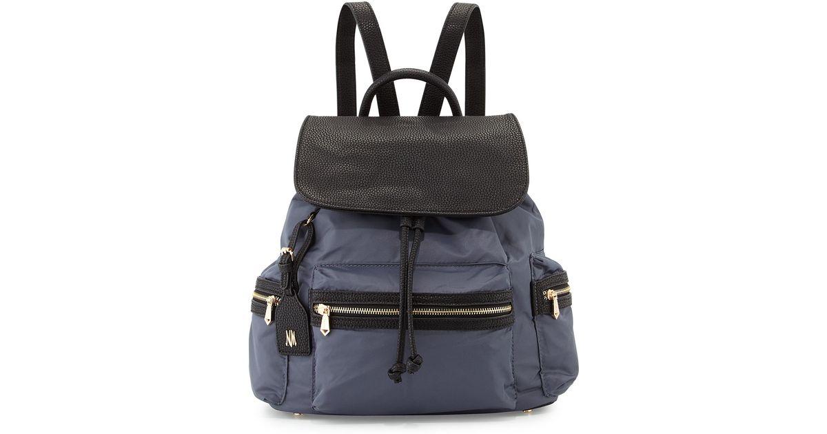 df33c68a1b Neiman Marcus Gray Elizabeth Contrast-trim Nylon Backpack