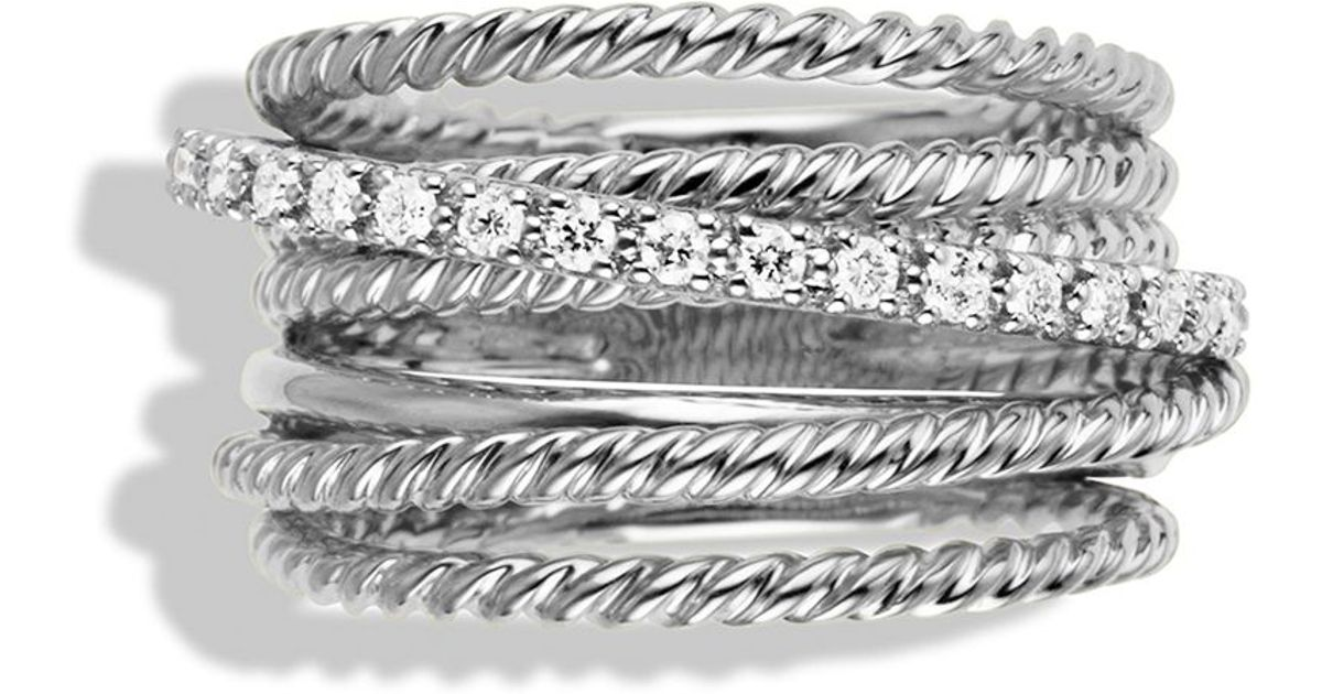 david yurman crossover wide ring with diamonds in silver