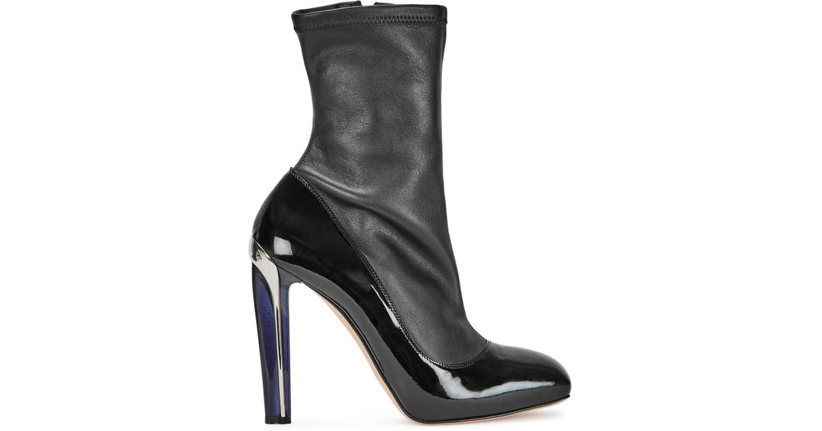 f8e463685e9 Alexander Mcqueen Black Perspex-heel Leather Boots in Black - Lyst