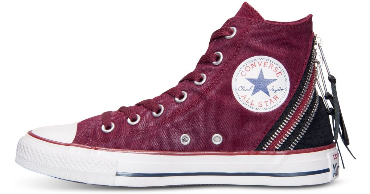 Lyst - Converse Women S Chuck Taylor Tri-Zip Sparkle Wash Casual Sneakers  From Finish Line in Red 3afa1f068d