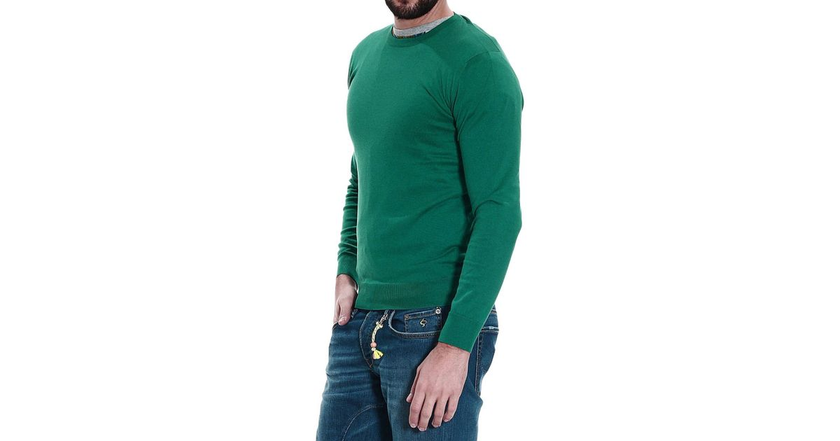 brand new 0f82d cd95d Cruciani - Green Sweater Knit Crew-Neck Cotton Silk E Cachemire for Men -  Lyst