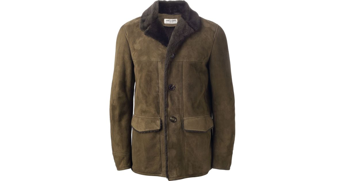 Completely new Lyst - Saint Laurent Shearling Jacket in Green for Men CG69