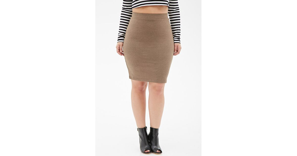 987d2ed3c5 Forever 21 Heathered Knit Pencil Skirt in Brown - Lyst