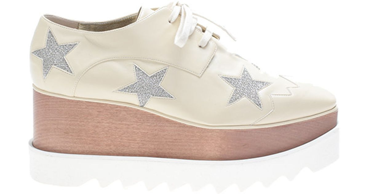stella mccartney ecru eco leather elyse shoes in white lyst