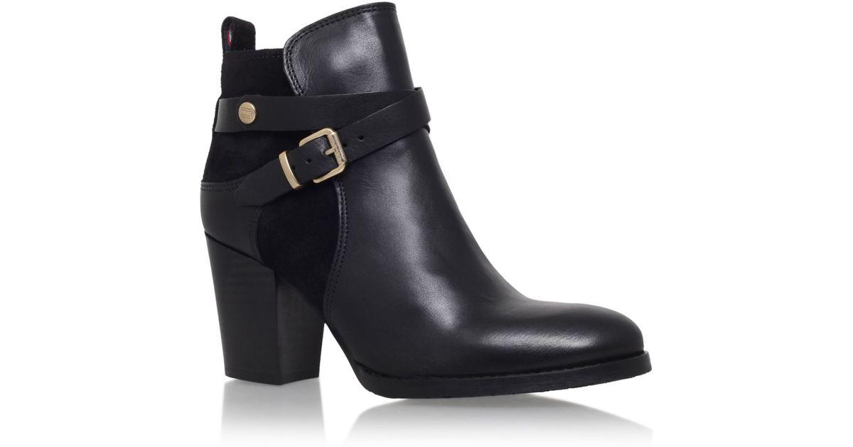 tommy hilfiger cathy 3c high heel ankle boots in black lyst. Black Bedroom Furniture Sets. Home Design Ideas