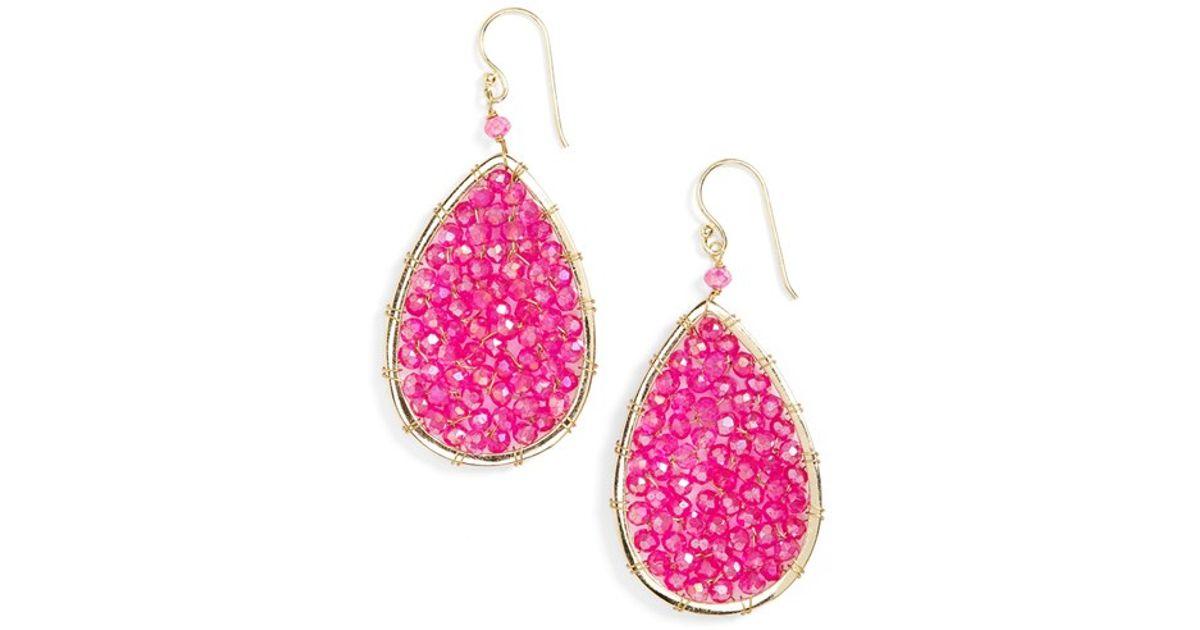 Panacea Pink Crystal Teardrop Earrings