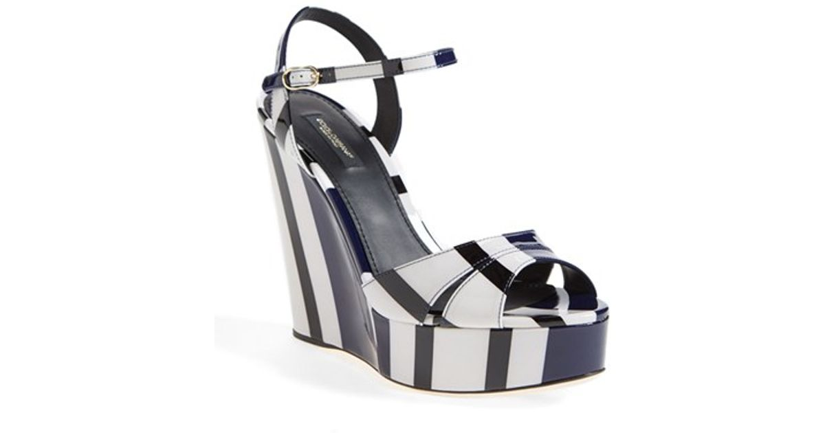 Nautical Platform Stripe Sandal Dolceamp; Gray Lyst Gabbana Wedge uZOPiXk
