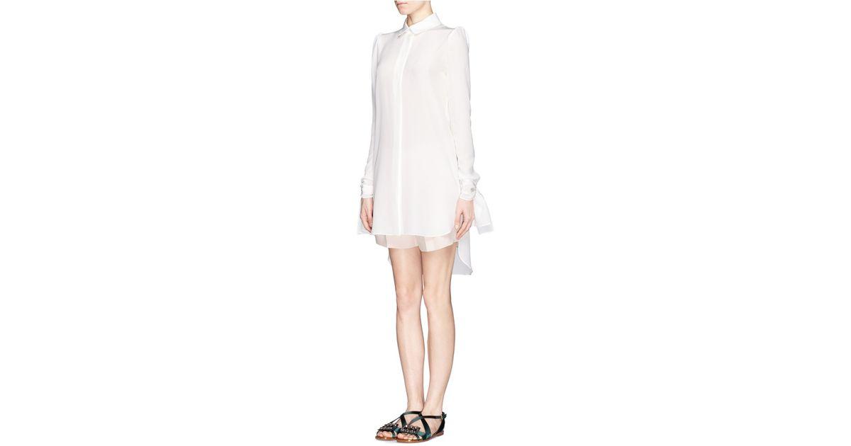 8e586109986a1 Chloé Bow Cuff Long Silk Shirt in White - Lyst