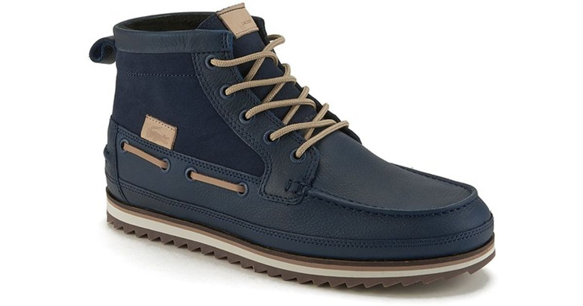 c7a8937acb9 Lacoste Blue Men's Sauville Mid 8 Leather/suede Chukka Boots for men