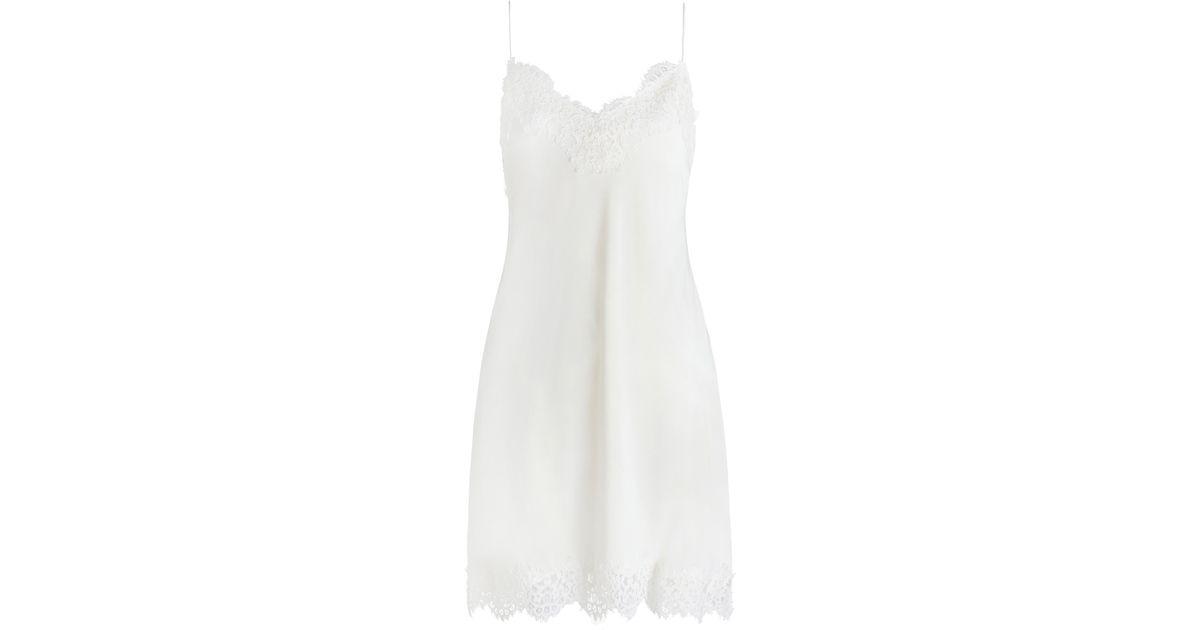 white silk zimmermann silk lace slip in white lyst