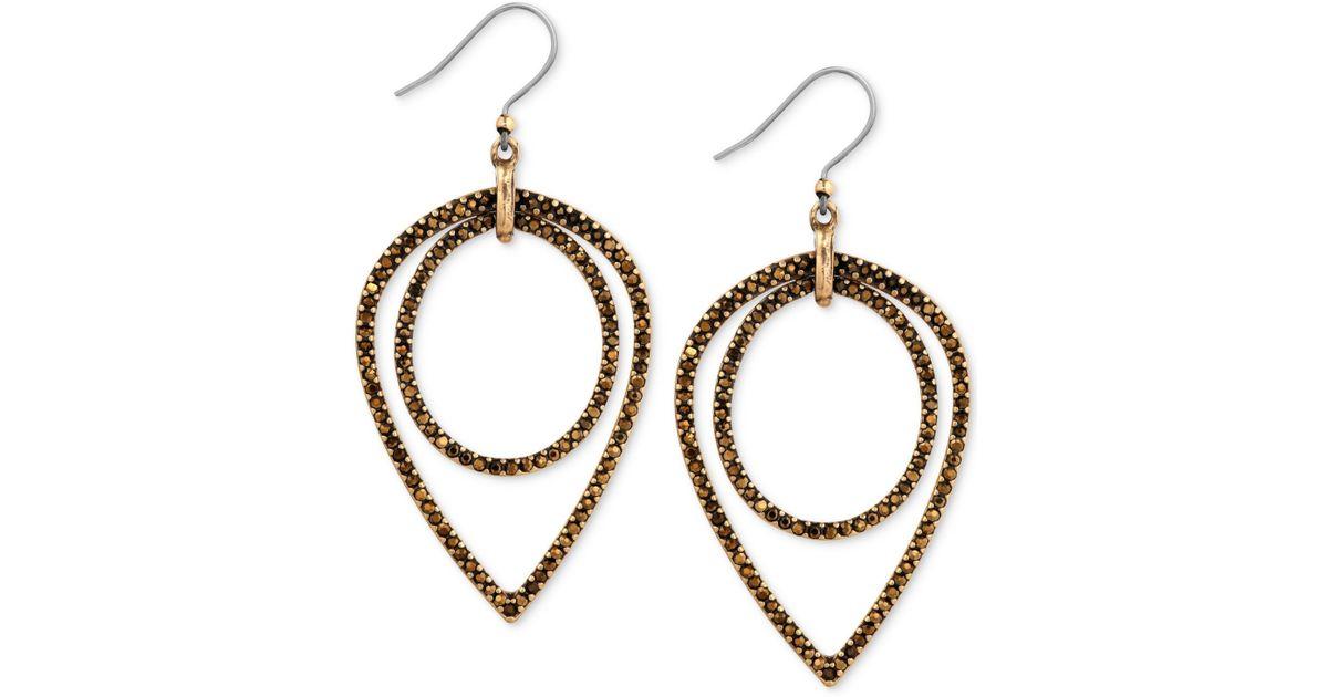 Lyst Lucky Brand Gold Tone Pavé Crystal Nested Teardrop Earrings In Metallic