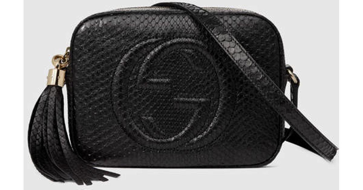 4f049a351736 Gucci Soho Python Disco Bag in Black - Lyst