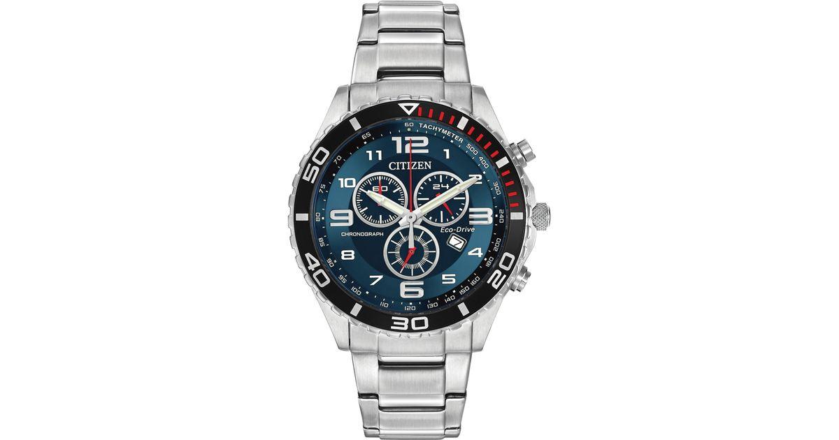 citizen men s chronograph stainless steel bracelet watch 43mm citizen men s chronograph stainless steel bracelet watch 43mm at2121 50l a macy s exclusive in gray for men lyst