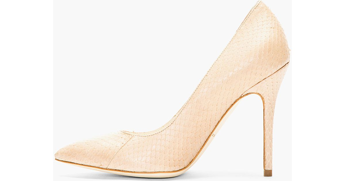 fbf451332a4 Brian Atwood Natural Nude Snakeskin Cassandra Pumps