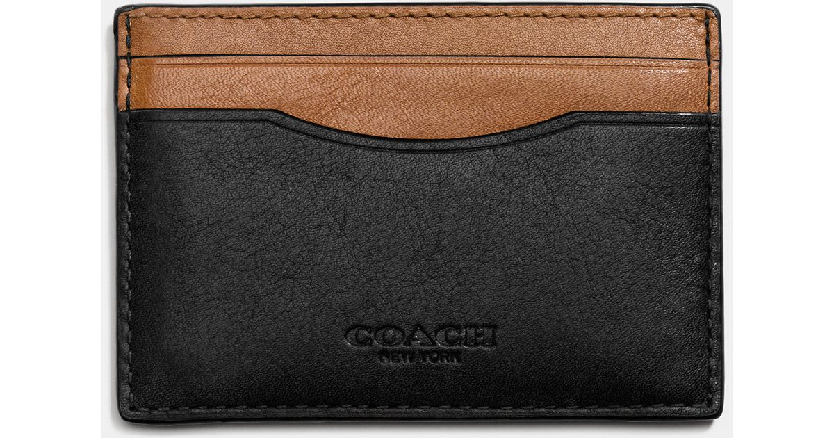 quality design 8a090 f7b3d COACH Black Card Case In Sport Calf Leather for men