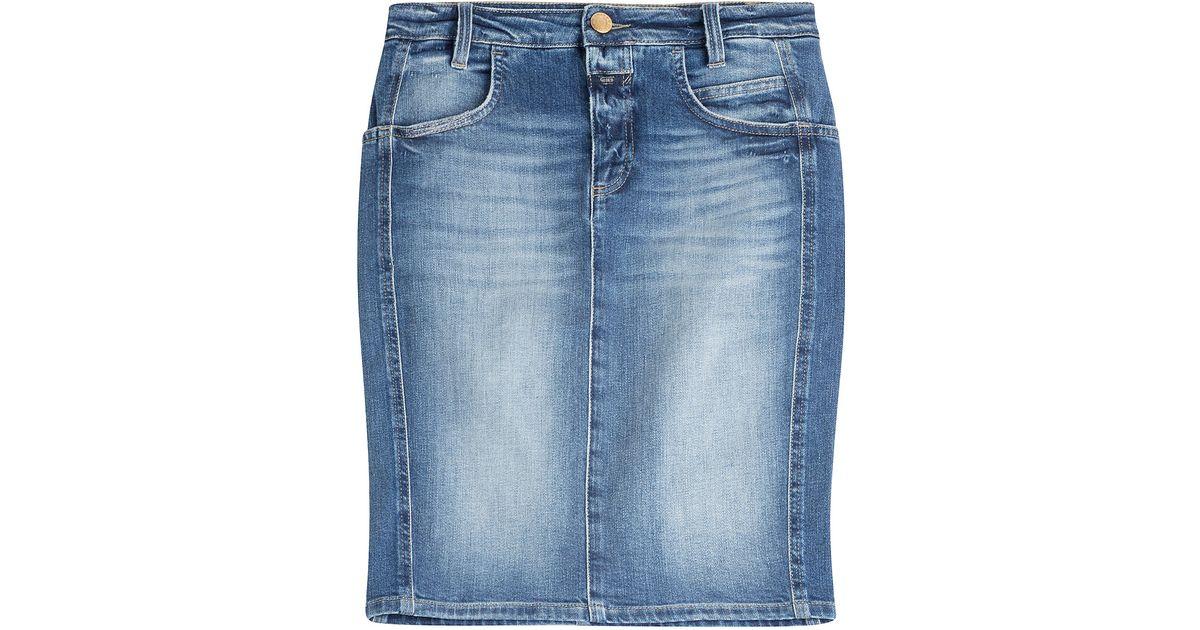closed grey denim pencil skirt in blue lyst