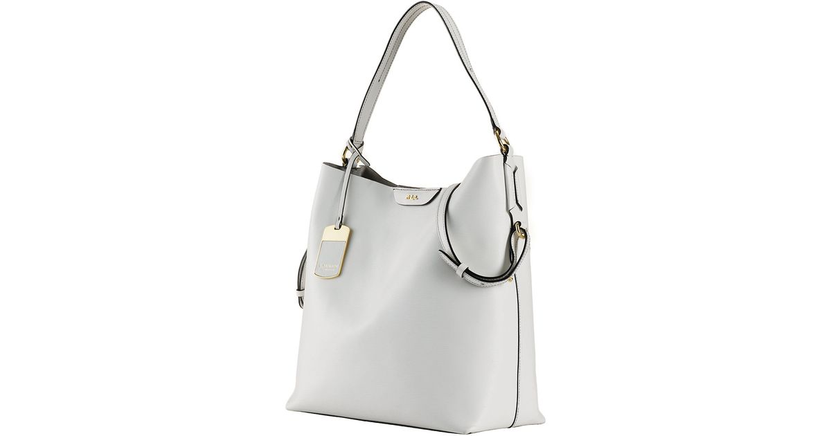 02ef74cc92 ireland lyst lauren by ralph lauren tate leather hobo bag in white bc137  88573