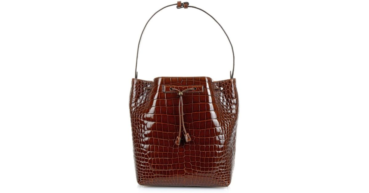 5994a400d02140 The Row Crocodile Bucket Bag in Brown - Lyst
