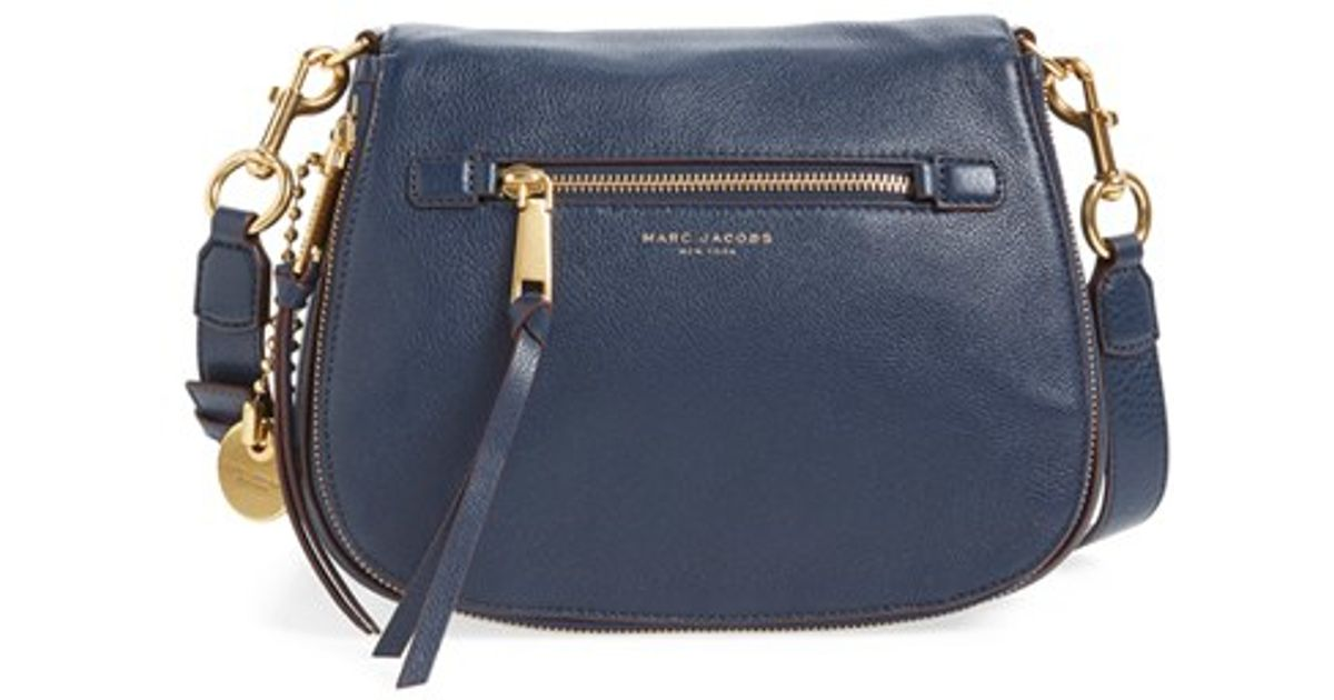57379460a0e Marc Jacobs Recruit Nomad Pebbled Leather Crossbody Bag in Blue - Lyst