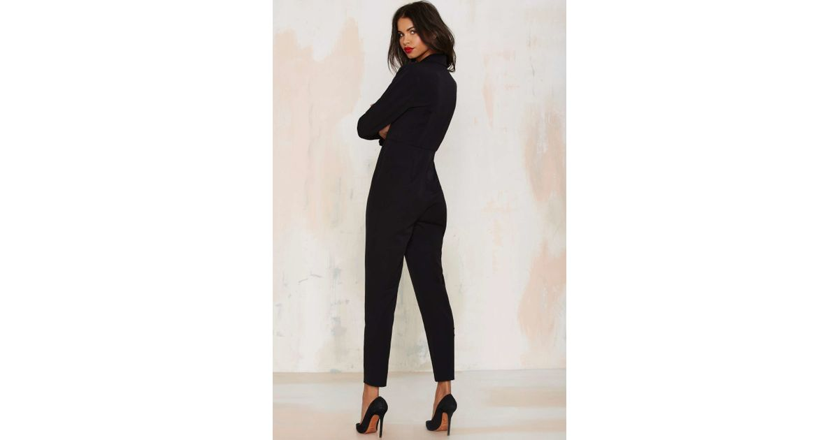 d345d1ee8b1 Nasty Gal Like A Boss Tuxedo Jumpsuit in Black - Lyst