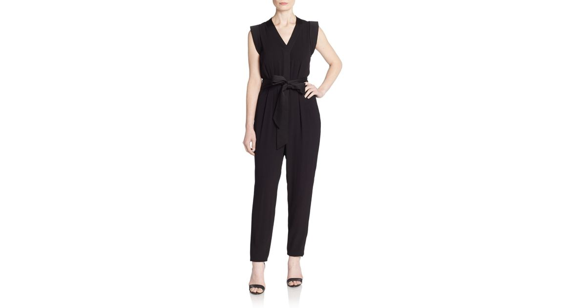 eb6c2c5dfd9c Lyst - Kate Spade Crepe Slim-leg Belted Jumpsuit in Black