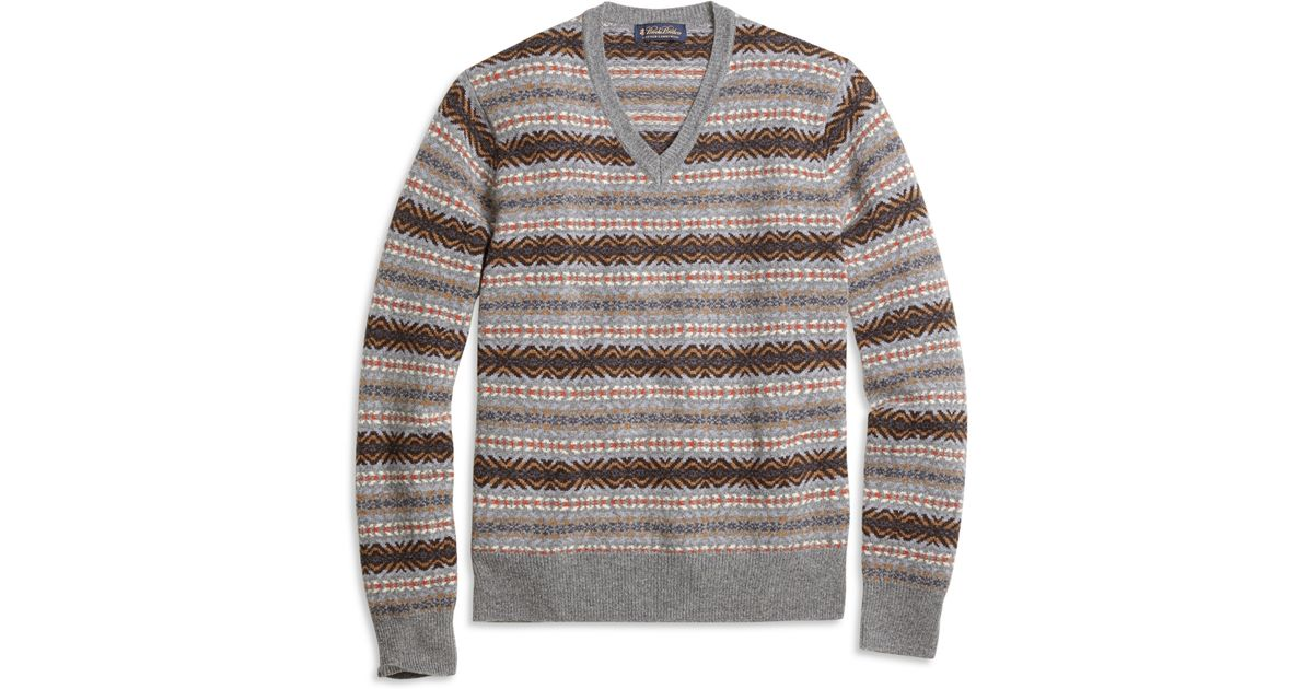Brooks brothers Fair Isle V-neck Sweater in Gray for Men | Lyst