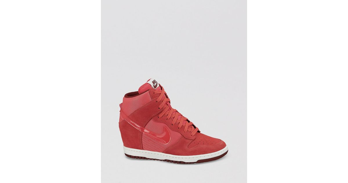 d647df2140f Lyst - Nike Lace Up High Top Wedge Sneakers Womens Dunk Sky Hi Essential in  Red