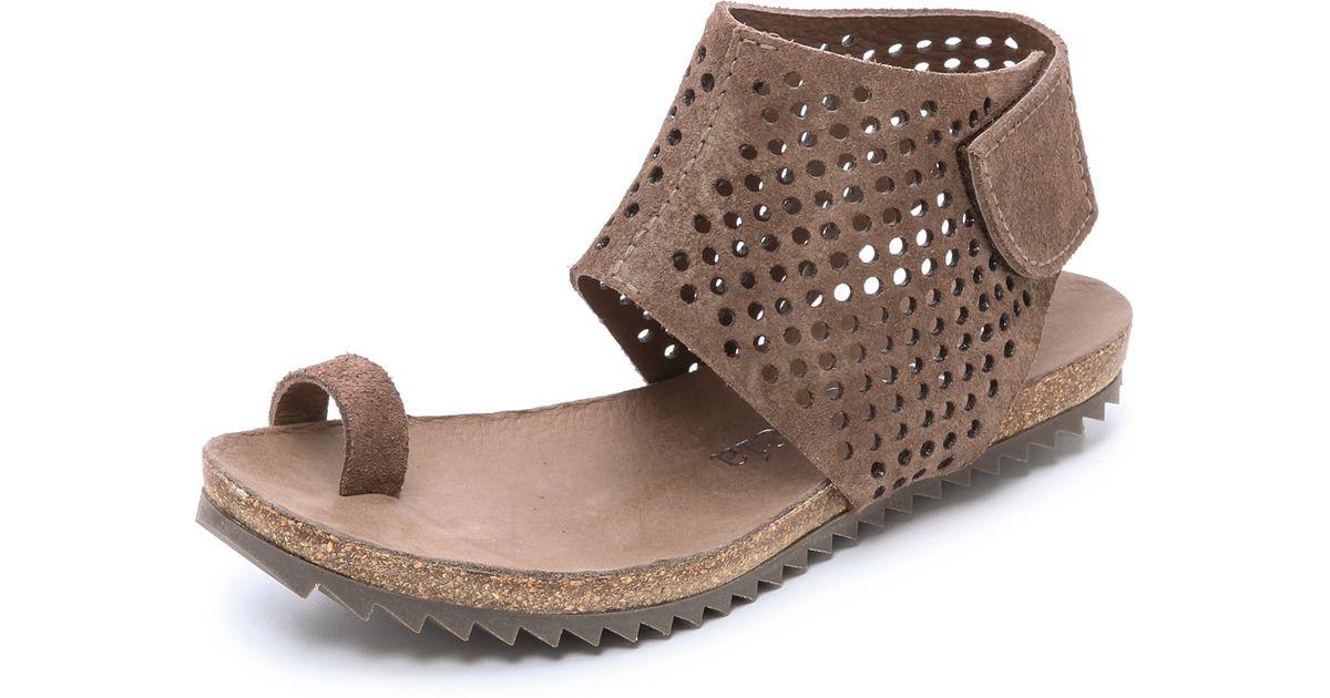 3d26bab6a081 Lyst - Pedro Garcia Venus Suede Toe Ring Sandals - Nut in Brown