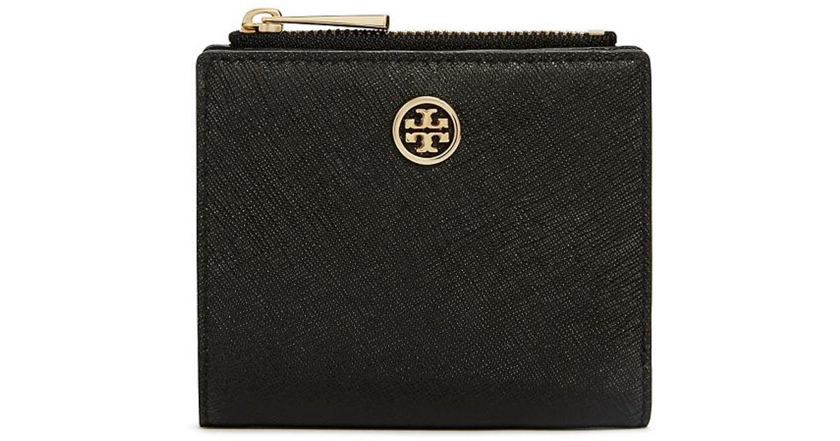49afa22b5 Tory Burch Robinson Mini Wallet in Black - Lyst